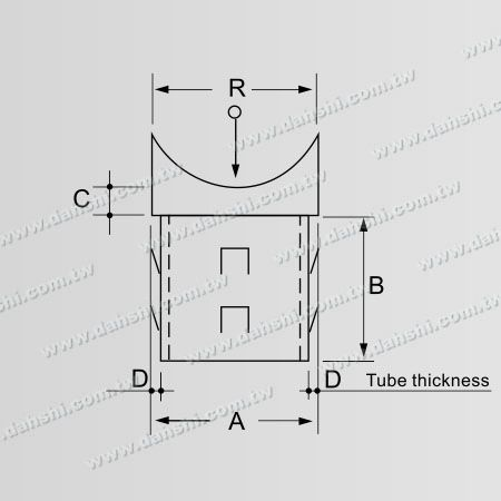 Dimension:Stainless Steel Round Tube Handrail Perpendicular Post Saddle Connector - Exit spring design- welding free/ glue applicable