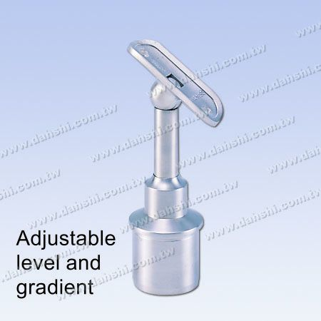 S.S. Round Tube Perp. Post Conn. Support Height Adj. - Stainless Steel Round Tube Handrail Perpendicular Post Connector Support Radiused Height Adjustable