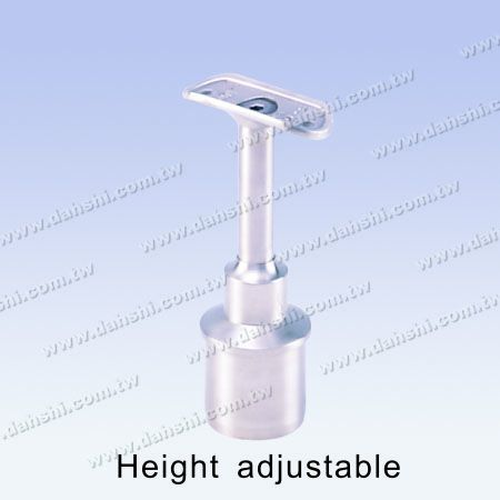 S.S. Round Tube Perp. Post Conn. Reducer Flat Height Adj. - Stainless Steel Round Tube Handrail Perpendicular Post Connector Reducer Flat Height Adjustable