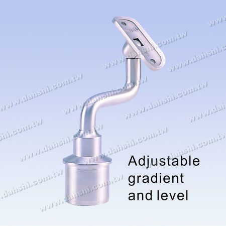 S.S. Round Tube Perp. Post Conn. S Stem Height Adj. - Stainless Steel Round Tube Handrail Perpendicular Post Connector S Stem Reducer Flat Height Adjustable