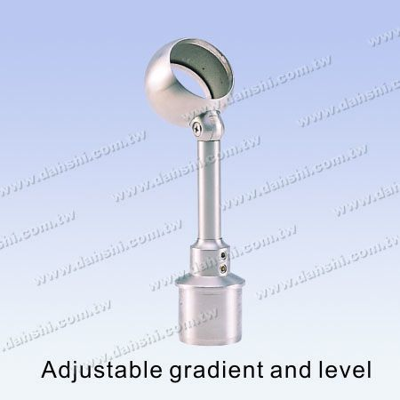 S.S. Round Tube Perp. Post Adj. Conn. Through Ring Height Adj. - Stainless Steel Round Tube Handrail Perpendicular Post Adjustable Connector Through Ring Height Adjustable