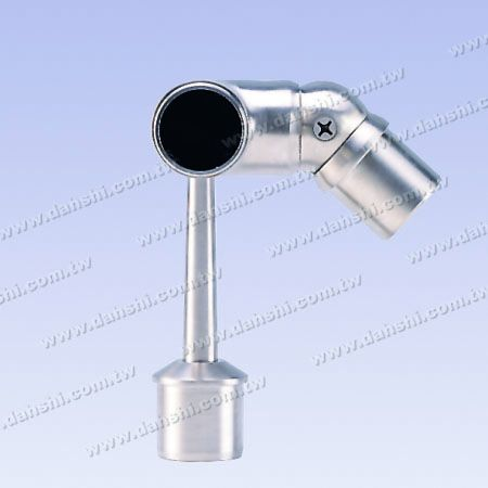 S.S. Round Tube Perp. Post Adj. Conn. Support Trapezoid Stem - Stainless Steel Round Tube Handrail Perpendicular Post Adjustable Connector Support Ball Type External Fit Trapezoidal Stem Left Hand Side