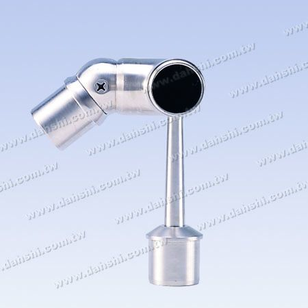 S.S. Round Tube Perp. Post Adj. Conn. Support Trapezoid Stem - Stainless Steel Round Tube Handrail Perpendicular Post Adjustable Connector Support Ball Type External Fit Trapezoidal Stem Right Hand Side