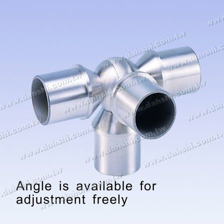 S.S. Round Tube Internal 90° T Ball Conn. 4 Way Out Angle Adj. - Stainless Steel Round Tube Internal 90degree T Ball Connector 4 Way Out Angle Adjustable