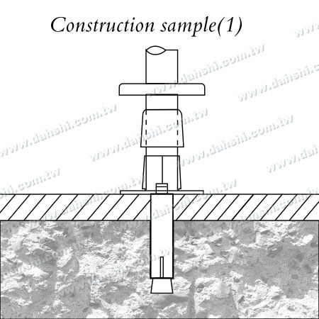 Stainless Steel Round Tube Handrail 3 Pieces Round Base - Screw Invisible - Installing Diagram 1