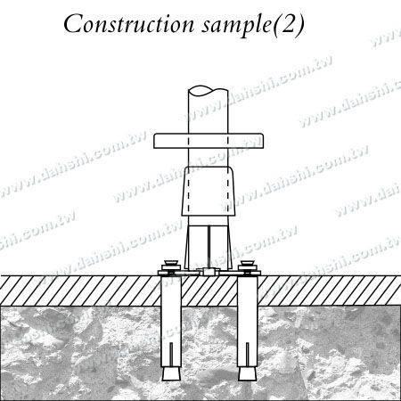 Stainless Steel Round Tube Handrail 3 Pieces Round Base - Screw Invisible - Installing Diagram 2