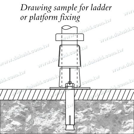 Stainless Steel Round Tube Handrail 3 Pieces Round Base - Screw Invisible - Installing Diagram 3