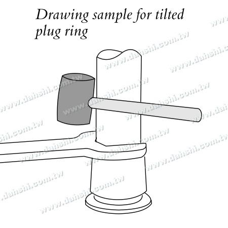 Stainless Steel Round Tube Handrail 3 Pieces Round Base - Screw Invisible - Installing Diagram 4