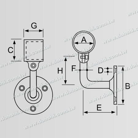 寸法:ねじ露出ブラケット-内部丸管手すり壁ブラケット端(左側)-角度調整可能