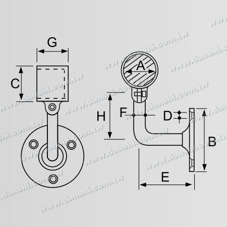 Dimension: Screw Exposed Bracket - Internal Round Tube Handrail Wall Bracket End (Right Hand Side) - Angle Adjustable