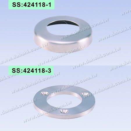 S.S. Round Tube Base & Cover - 3 Screw Holes - Stainless Steel Round Tube Handrail Round Cover / Stainless Steel Round Tube Handrail Round Plate - 3 Screw Holes