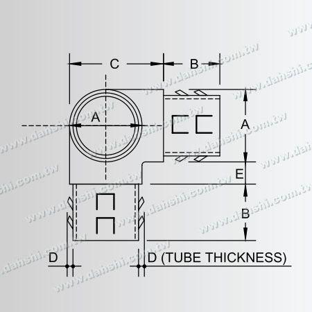 ขนาด: สแตนเลสท่อกลมภายใน 90 องศา T เชื่อมต่อ - ออกจากฤดูใบไม้ผลิการออกแบบ - เชื่อมฟรี / กาวที่ใช้บังคับ