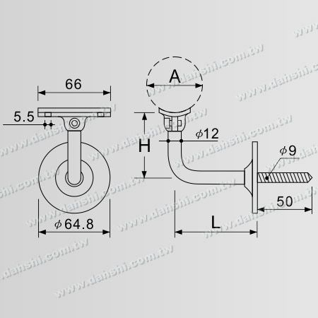 Dimension: Self-Tapping Screw - Stainless Steel Round Tube Handrail Wall Bracket - Angle Adjustable