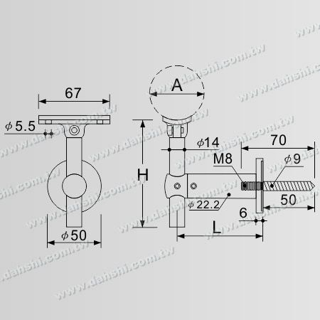 Dimension: Self-Tapping Screw - Stainless Steel Round Tube Handrail Wall Bracket Adjustable Height - Angle Adjustable