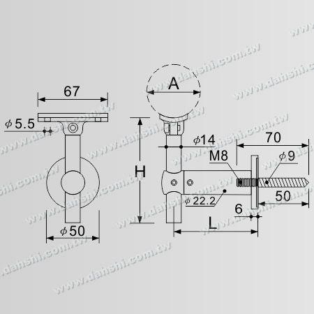寸法:タッピンねじ-ステンレス鋼丸管手すり壁ブラケット高さ調整可能-角度調整可能