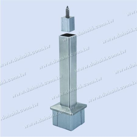S.S. Square Tube Perp. Post Conn. Reducer Flat - Stainless Steel Square Tube Handrail Perpendicular Post Connector Reducer Flat
