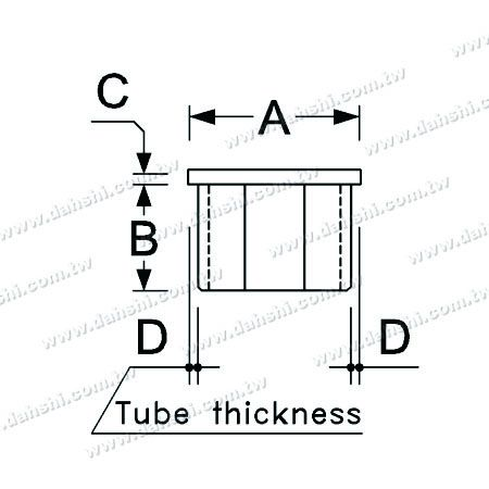 Dimension:Stainless Steel Square Tube Flat Top End Cap