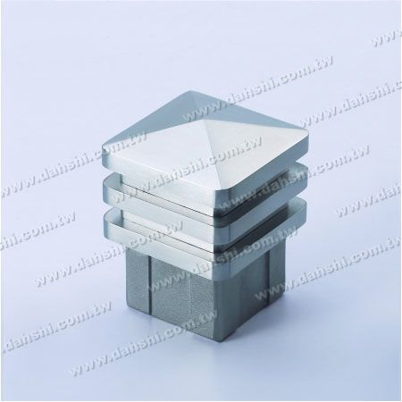 S.S. Square Tube Spire Top End Cap Wide Exit - 3 Layers - Stainless Steel Square Tube Spire Top End Cap Wide Exit - 3 Layers