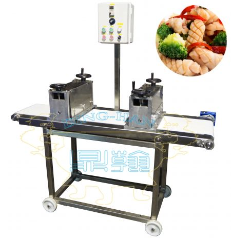 Macchina automatica per intagliare calamari (tipo a nastro trasportatore) - Macchina per intagliare calamari