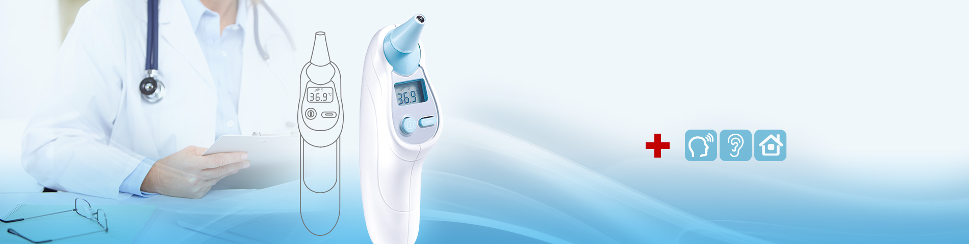 Forehead / Ear / Room Temperature Infrared Thermometer Highly accurte and quick reaction. OEM available.