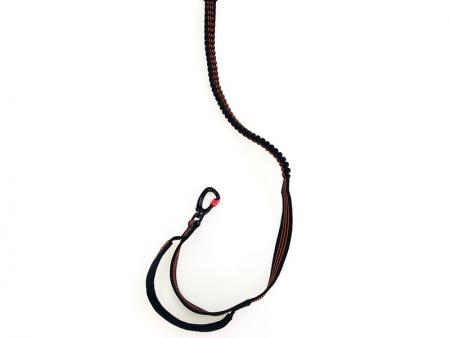 Bungee dog leash with padded handle and reflective threads