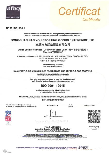 China Factory - ISO 9001:2015 Certificate.