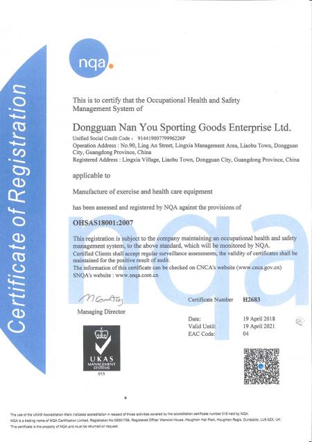 China Factory - OHSAS18001 2007 Certificate.