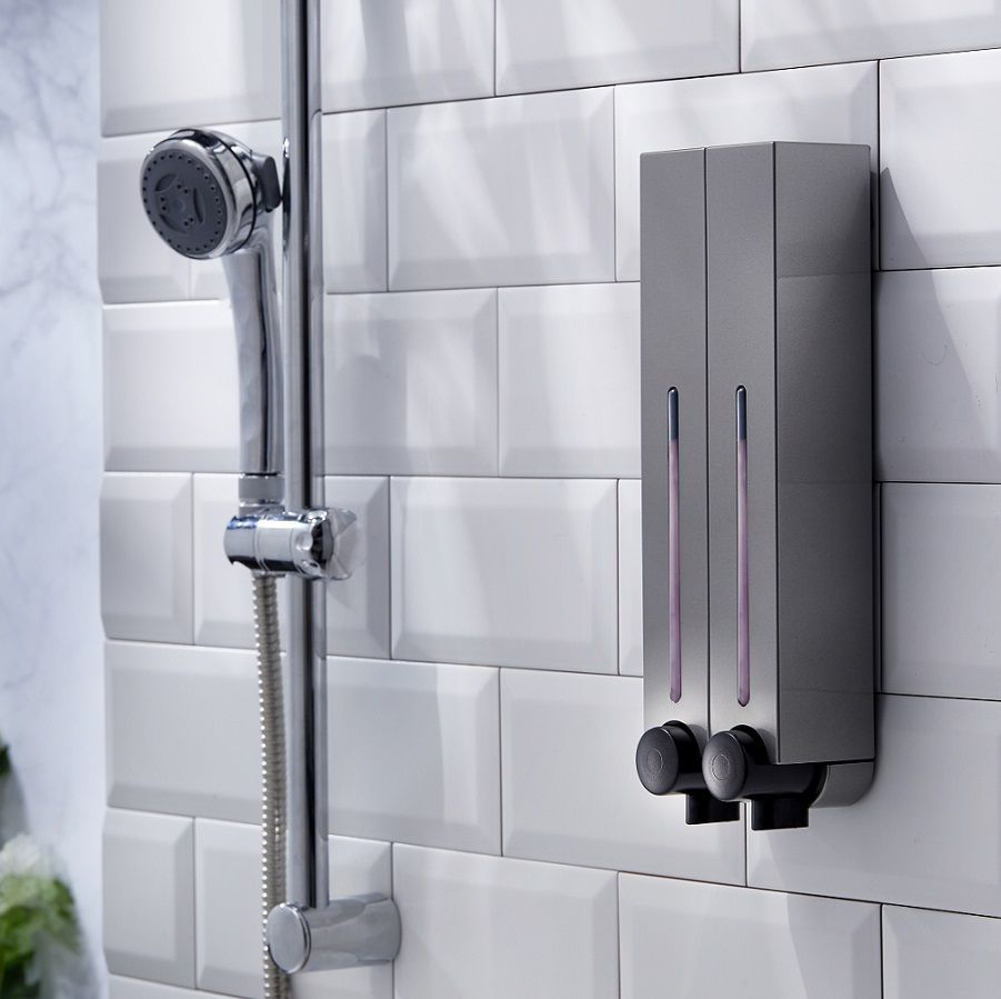 Shower Shampoo Conditioner Fluid Soap Dispenser Bath Bathroom Wall Mount Hanging