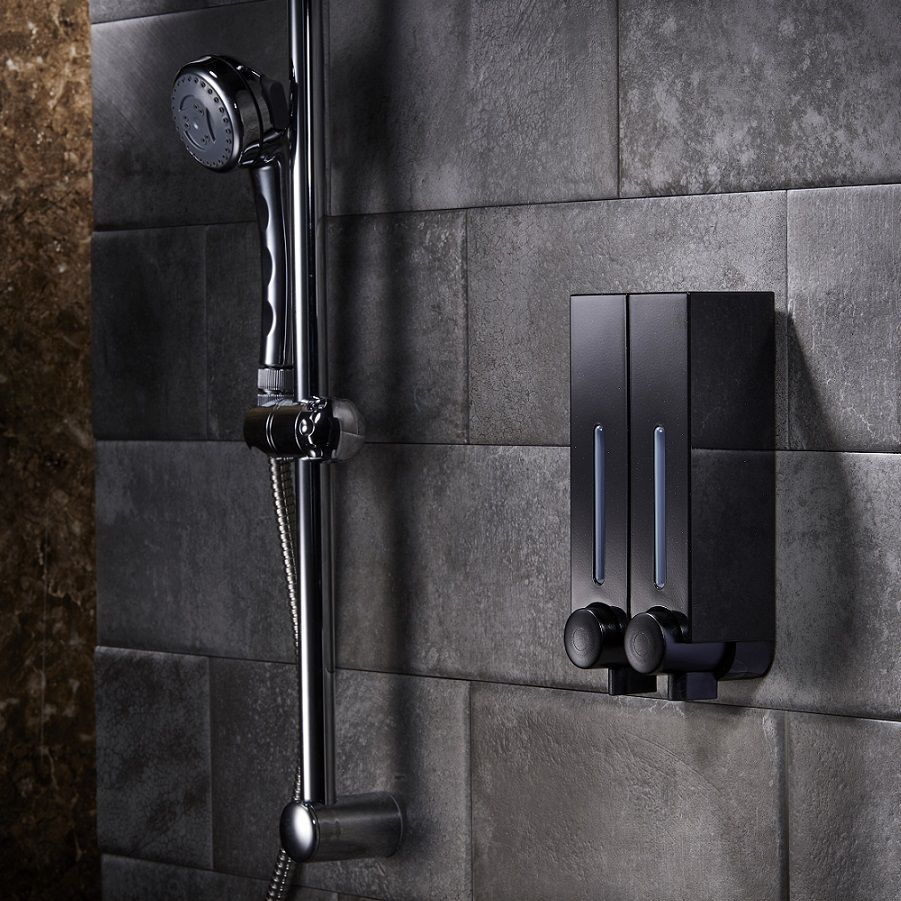 Matte Black Refillable Soap Dispenser Wall Mountable