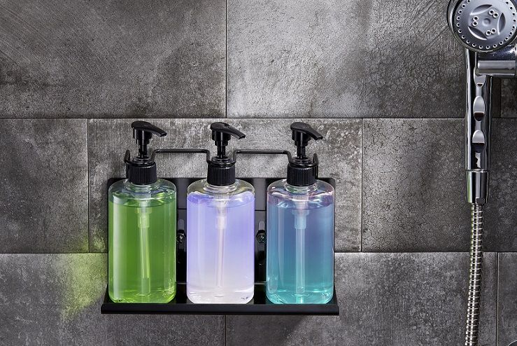 Wall Mounted Stainless Steel Triple Bathroom Shampoo Bottles Holder
