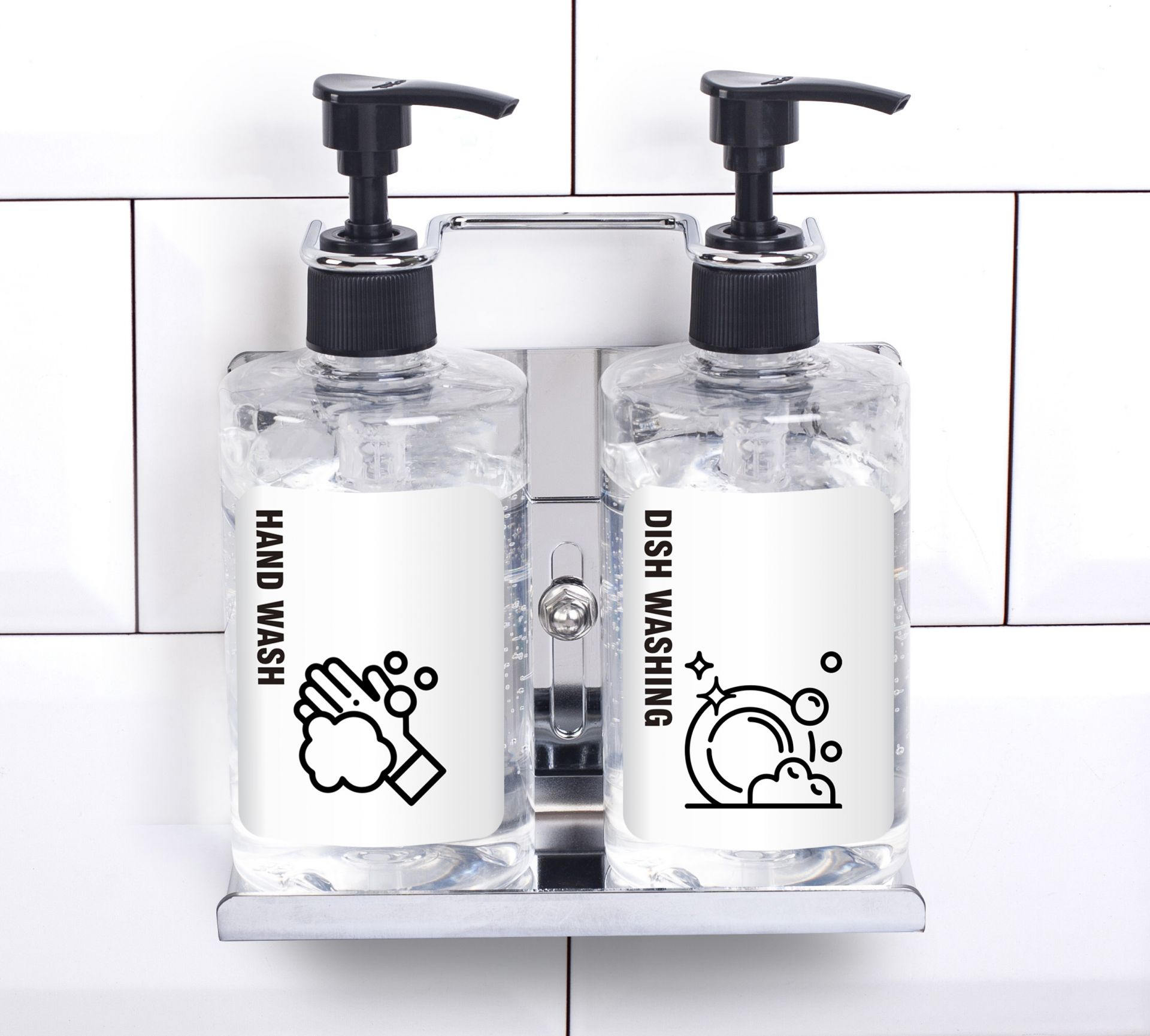 Stainless Steel Refillable Dual Soap Dispenser Holder