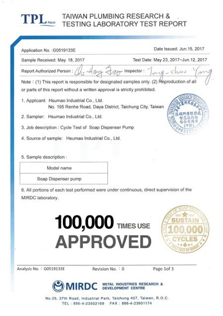 100,000 Cycle Test Report by 3rd party lab