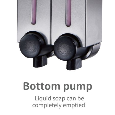 Button pump position dispenser for completely empied soap liquid