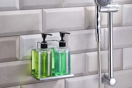 Stainless Steel Hotel shampoo bottle holder with Locking System