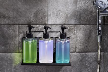 Triple wall-mounted shampoo and soap dispenser