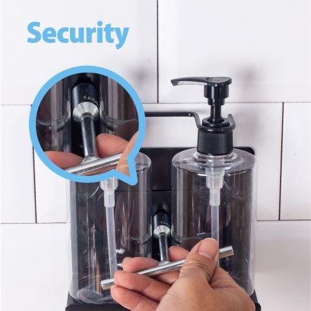 सुरक्षा शैम्पू बोतल धातु धारक स्थापित करें