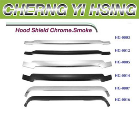 Hood Shield Chrome. Smoke