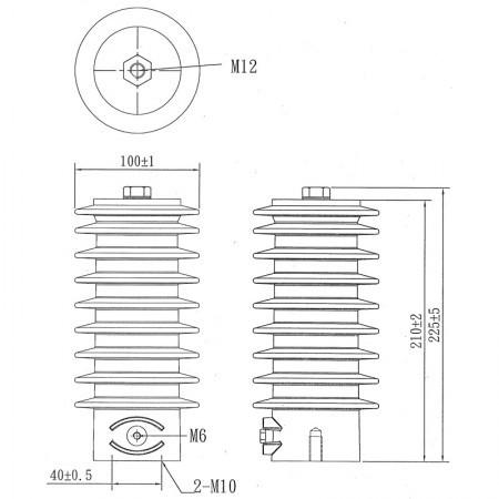 CVDI-24 電壓監測礙子尺寸圖