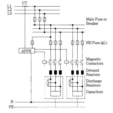 LV Tubular Power Capacitors - Wiring Diagram (With Reactors)