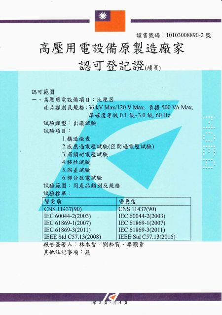 Manufacturer Certificate (CIC's Taoyuan factory) for Current Transformers and Potential Transformers - Page 2