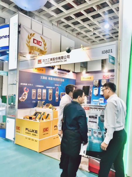 "A representative of CIC (Challenge Industrial Co., Ltd.) interacting with visitors during  ""2019 Energy Taiwan"""