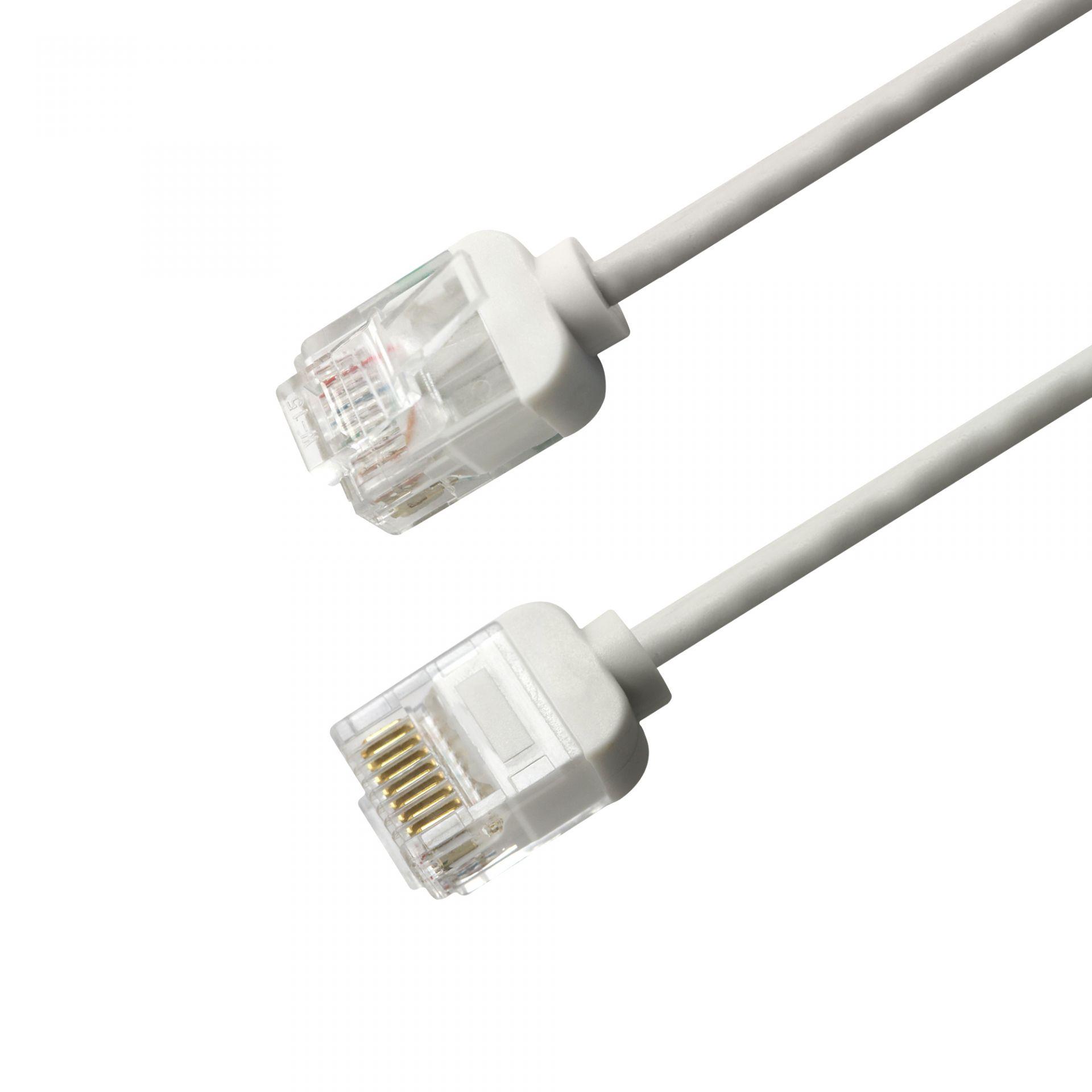 RJ45 Kat. 6 UTP 32 AWG vékony patch kábel extra kis moduláris dugókkal