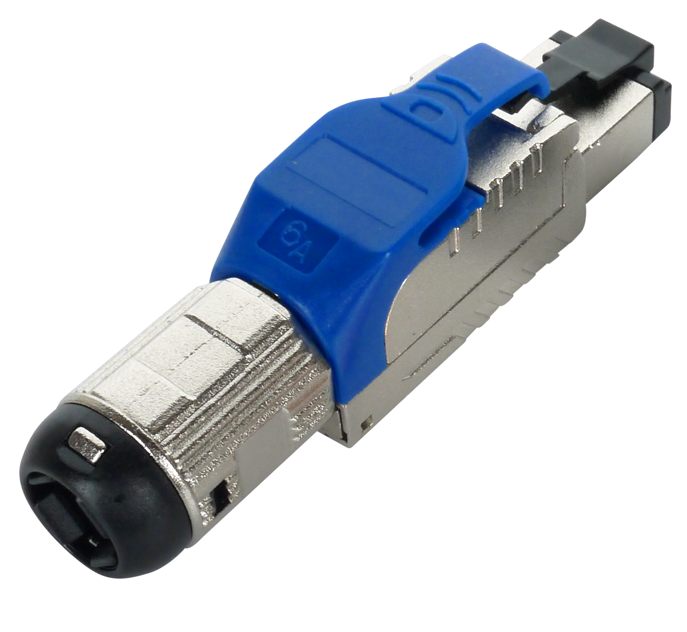 Cat 6A STP Blue Field Termination RJ45 Connector - Cat 6A full shielded toolfree plug