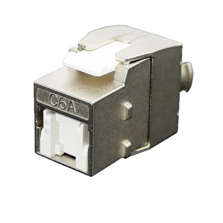 Cat 6A STP 180° Toolless RJ45 Keystone Jack With Shutter Slim Type - Cat 6A STP 180 Degree Keystone Jack