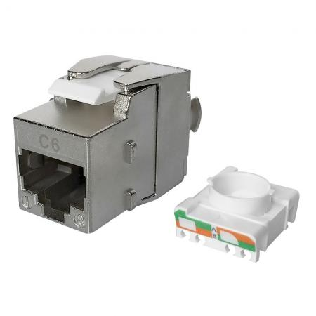 Cat6 STP 180° Toolless RJ45 Keystone Jack - Cat 6 STP 180 Degree Keystone Jack