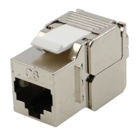 Cat6 STP 180° Toolless RJ45 Keystone Jack Slim Type - Cat 6 FTP toolless slim type 180 degree RJ45 Modular Jack
