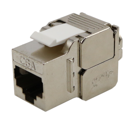 Cat 6A STP 180 Degree Toolless RJ45 Keystone Jack Slim Type - Cat. 6A FTP keystone Jack, 180degree toolless slim type