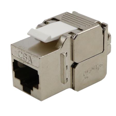Macska. 6A STP 180 fokos szerszámmentes karcsú trapéz jack - Macska. 6A FTP keystone jack, 180 fokos szerszám nélküli karcsú típus