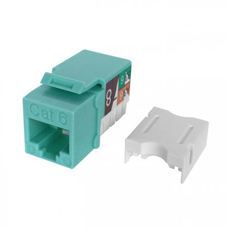 Cat6 UTP 90° 110 Punch Down RJ45 Keystone Jack Aqua color - Cat 6 UTP RJ45 Keystone Jack, Aqua