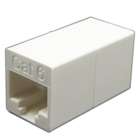 Kat. 6 UTP 180 fokos inline csatoló - c6 UTP, 180 fokos csatoló, hosszabbító funkció, retesz nélkül
